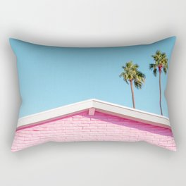 Pink House Roofline with Palm Trees (Palm Springs) Rectangular Pillow