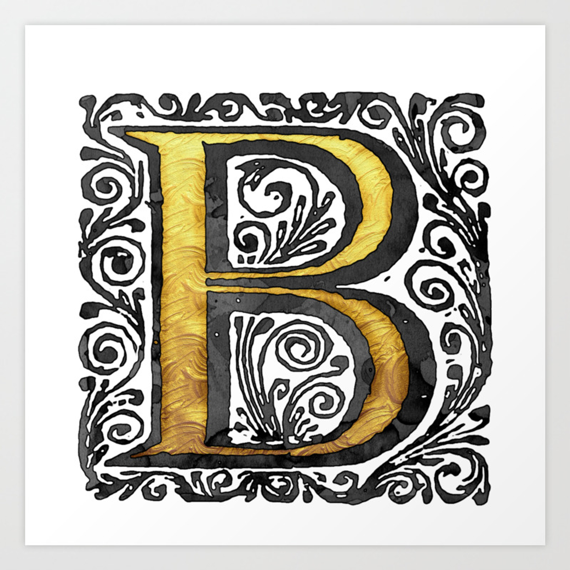 Beautiful monogram letter b vintage style art print