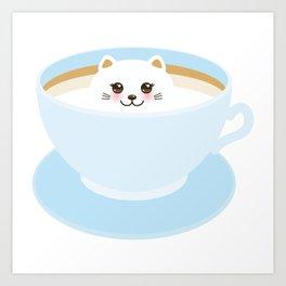 Cute Kawai cat in blue cup Art Print