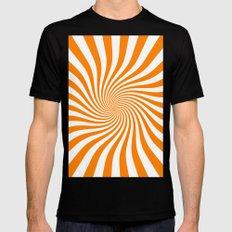 Swirl (Orange/White) Mens Fitted Tee Black MEDIUM