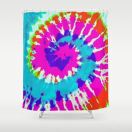 Batik Flower Power Spiral grunge Shower Curtain