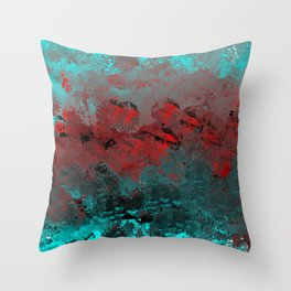 Cool Aqua and Red Abstract Throw Pillow