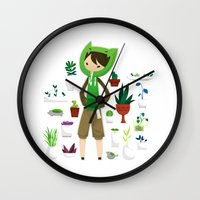 plants Wall Clocks featuring Plants by Zennore
