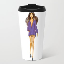 GIRL - Lady In BLUE - brown-haired - watercolor Travel Mug