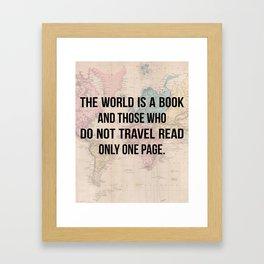 Travel Quote Map Design Framed Art Print