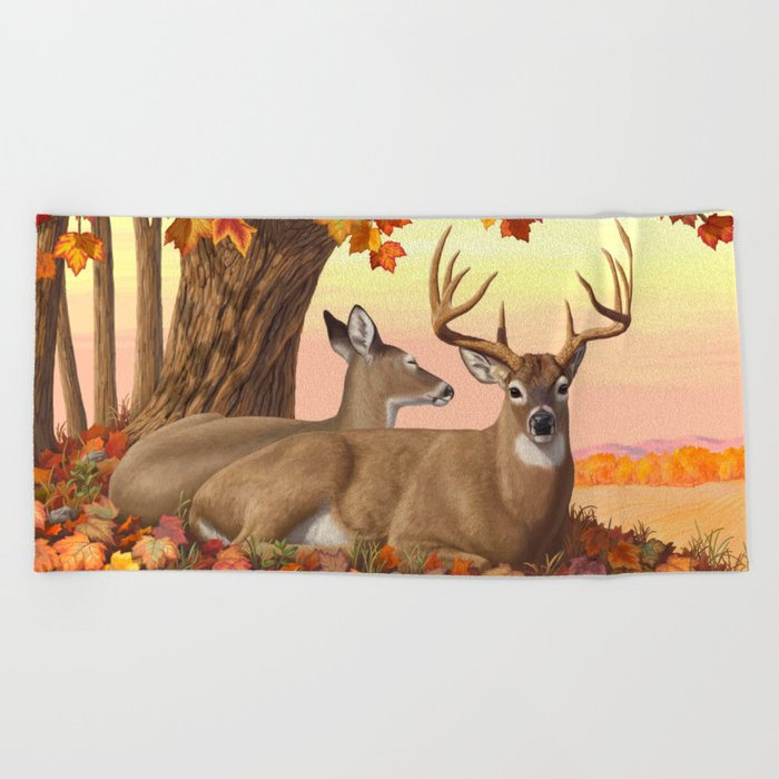Hilltop Retreat Whitetail Deer Painting Beach Towel