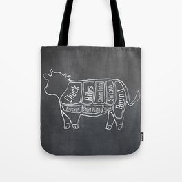 Beef Butcher Diagram (Cow Meat Chart) Tote Bag