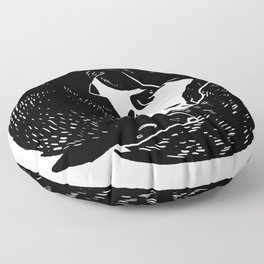 black and white thoughts Floor Pillow