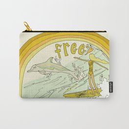 follow the dolphins you will feel free // retro surf art by surfy birdy Carry-All Pouch