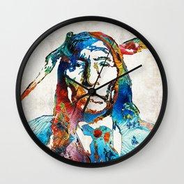 Native American Art - Warrior - By Sharon Cummings Wall Clock