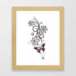 Tattoo tendril with flowers, stars and butterfly Framed Art Print