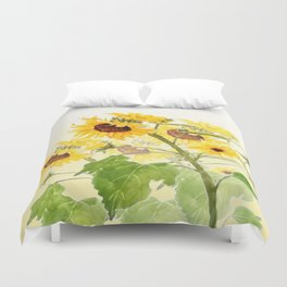 One sunflower watercolor arts Duvet Cover
