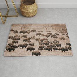 Buffalo Herd in Sepia Rug