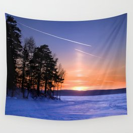 Сolumn of light and contrails Wall Tapestry