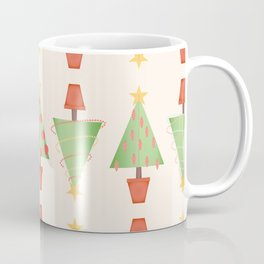 Topiary Christmas Tree Pattern with Stitched Fabric Style Coffee Mug
