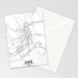 Minimal City Maps - Map Of Linz, Austria. Stationery Cards