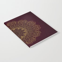 Gold Mandala on Royal Red Background Notebook