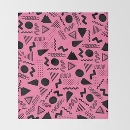 Neon pink black geometric retro 80's motif Throw Blanket