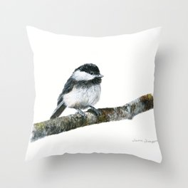 Black-capped Chickadee by Teresa Thompson Throw Pillow