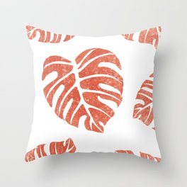 Terracotta Leaf - Monstera - Terracotta Abstract Print - Modern, Minimal, Contemporary Abstract Throw Pillow