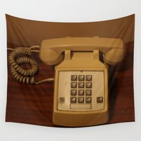 telephone Wall Tapestries featuring Vintage Retro Telephone by Christine aka stine1