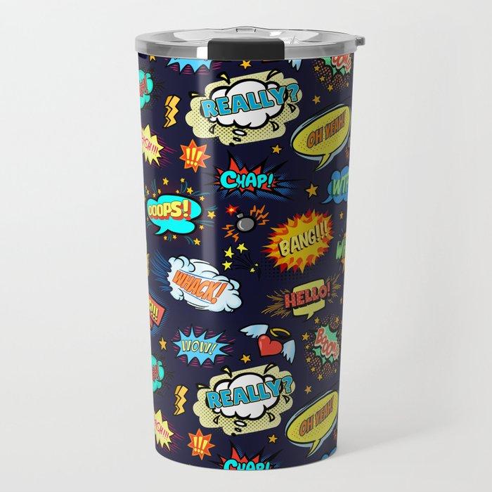 Retro Vintage Comic Book Speech Bubbles Design Travel Mug
