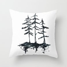 THE THREE SISTERS - Trees in Black and White Rustic Vintage Forest Adventure Art Throw Pillow
