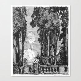 "Vintage Illustration - ""Garden Grotto"" Canvas Print"