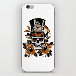 Smoking skull and roses iPhone Skin