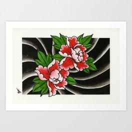 Traditional Japanese Peony Flower Art Print