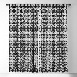 Chinese style grid pattern in black & white Blackout Curtain