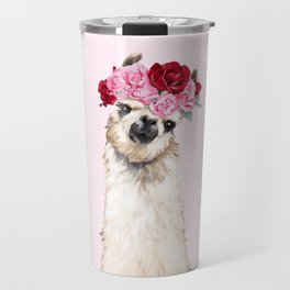 Llama with Pink Roses Flower Crown Travel Mug