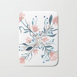 Blush and Blue Floral Pinwheel Bath Mat