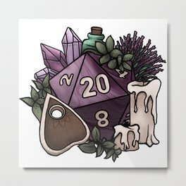 Witchy D20 Tabletop RPG Gaming Dice Metal Print