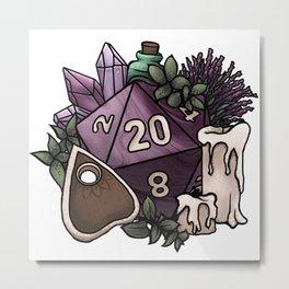 Witchy D20 Tabletop RPG Gaming Dice Metal Print