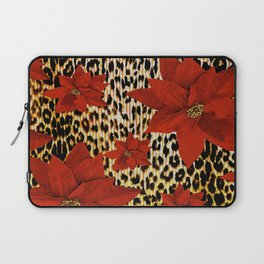 Animal Print Leopard and Red Poinsettia Laptop Sleeve