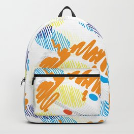 Contemporary interior design shapes unique pattern orange, blue decoration style Backpack