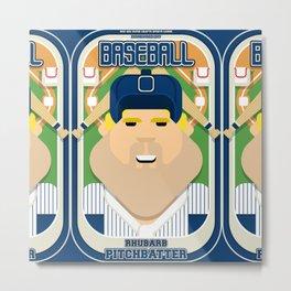 Baseball Blue Pinstripes - Rhubarb Pitchbatter - Sven version Metal Print