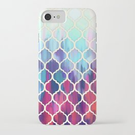 Moroccan Meltdown - pink, purple & aqua painted tiles iPhone Case