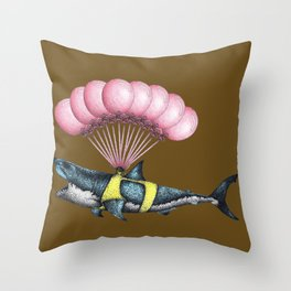 Great White Shark floating with red balloons Throw Pillow