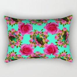 GREEN PEACOCK & PINK ROSE PATTERN ART Rectangular Pillow