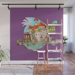 Watercolor Silhouette The Little Mermaid Flounder Wall Mural