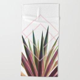 Tropical Desire - Foliage and geometry Beach Towel