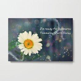 Positive Vibes Daisy Metal Print