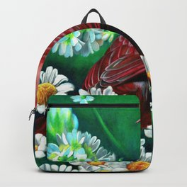 Cardinal Colored Pencil Bird Drawing Flower Artwork Backpack