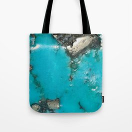 Turquoise with Gold Veining and Deposits Tote Bag