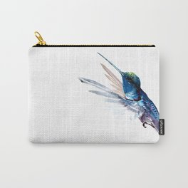 Hummingbird, Navy Blue Turquoise Artwork Carry-All Pouch