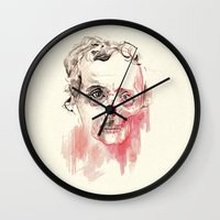 poe Wall Clocks featuring Poe by Elena López Macías