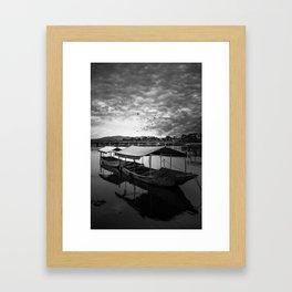 Boat on Water (Black and White) Framed Art Print