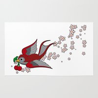 swallow Area & Throw Rugs featuring Red Swallow by Jelly Roger